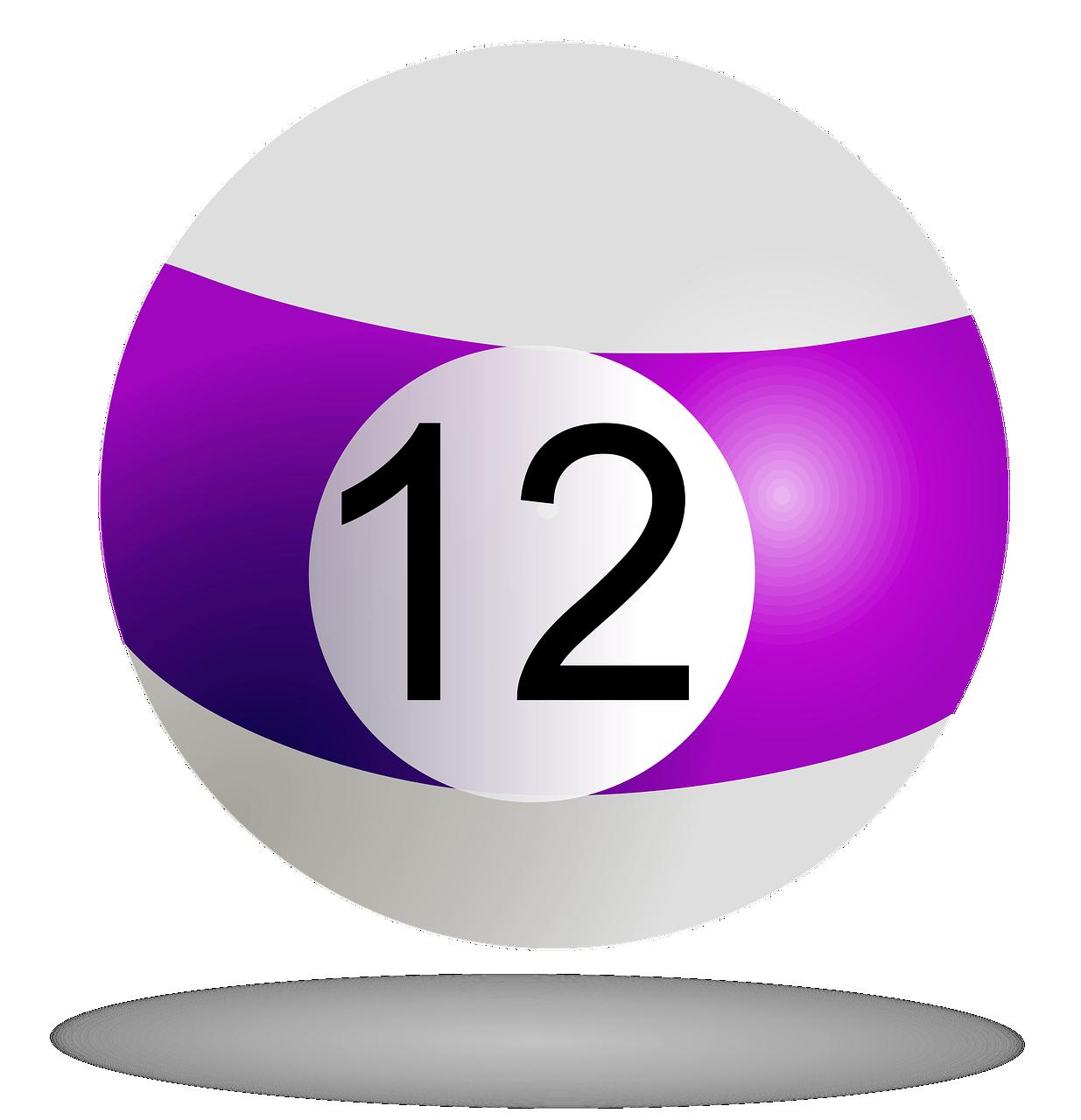 billiard ball, purple, 12